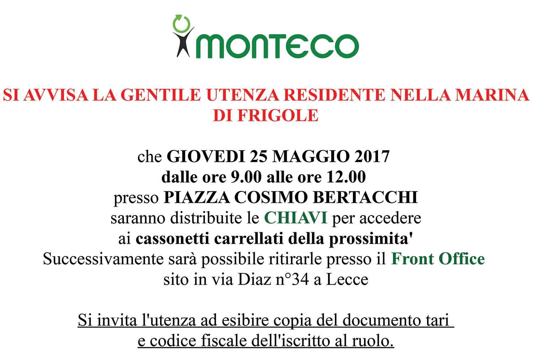 MARINA DI FRIGOLE: distribuzione chiavi per accesso ai cassonetti carrellati della prossimità