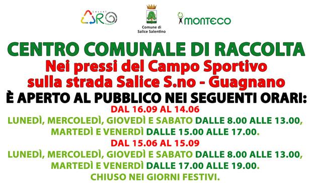 Dal 13 agosto 2018 sarà aperto il Centro Comunale di Raccolta sito nei pressi del Campo Sportivo