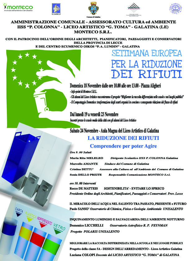 Galatina - Programma eventi in occasione della Settimana Europea per la Riduzione dei Rifiuti