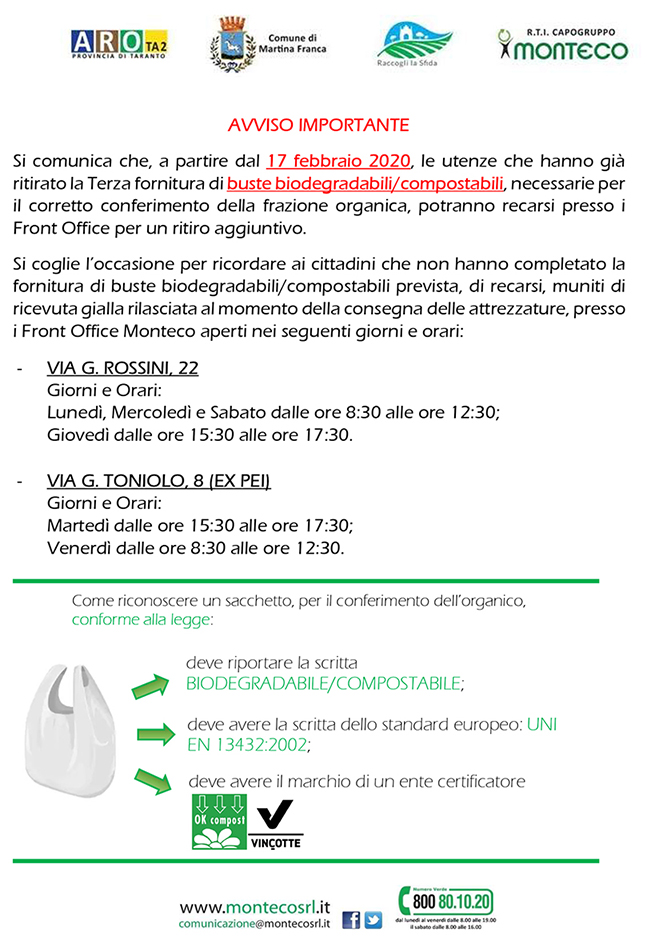 Martina Franca. Distribuzione buste compostabili per la raccolta della frazione organica