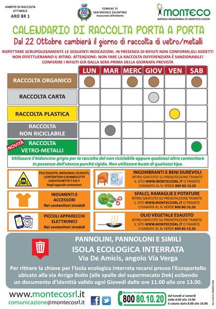 San Michele S.no. Dal 22 ottobre 2018 cambia il giorno di raccolta della frazione multimateriale vetro e metalli