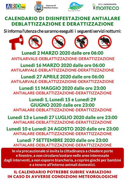 Martina Franca. Calendario disinfestazioni antialare, antilarvale, derattizzazione e deblattizzazione