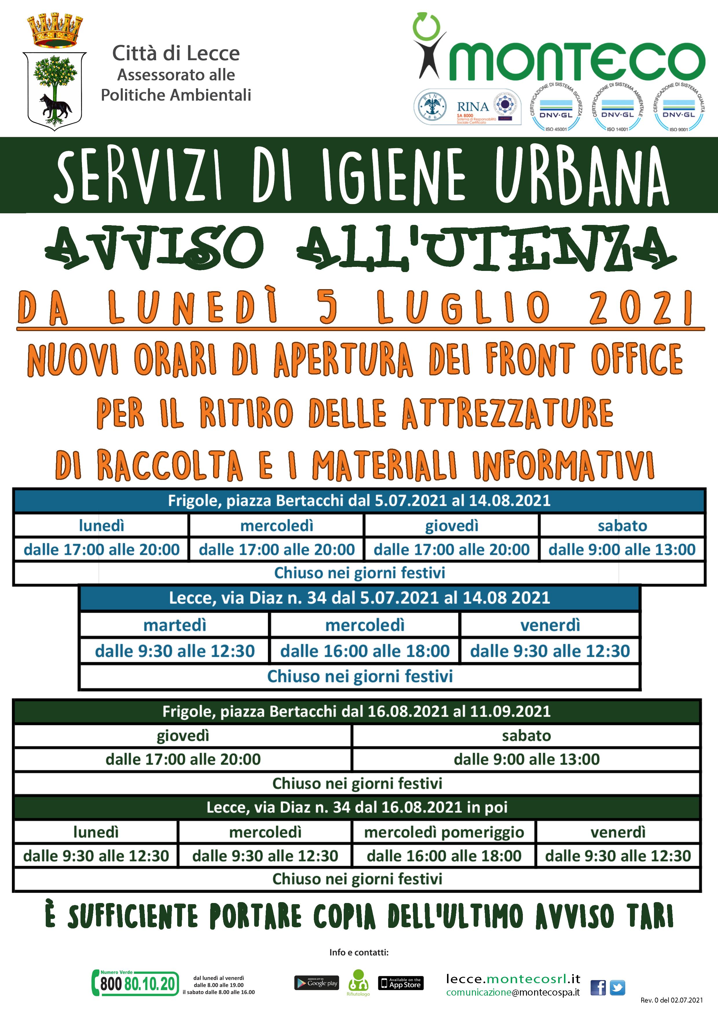 Front Office Lecce. Dal lunedì 5 luglio 2021 cambiano gli orari di apertura