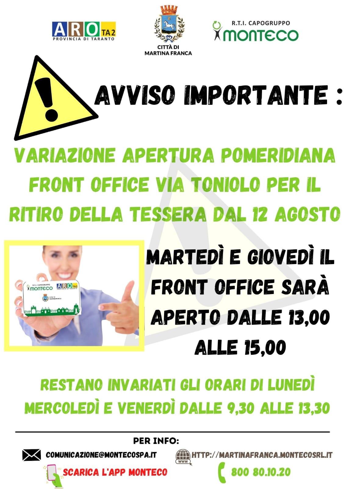 Martina Franca. Variazione apertura pomeridiana Front Office di via Toniolo dal 12 agosto 2021