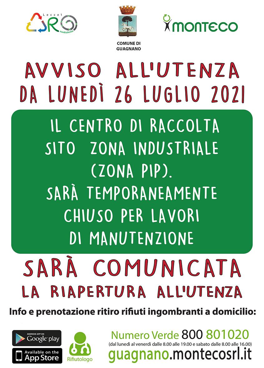 Dal 26 luglio 2021 il Centro Comunale di Raccolta sarà temporaneamente chiuso per lavori di manutenzione