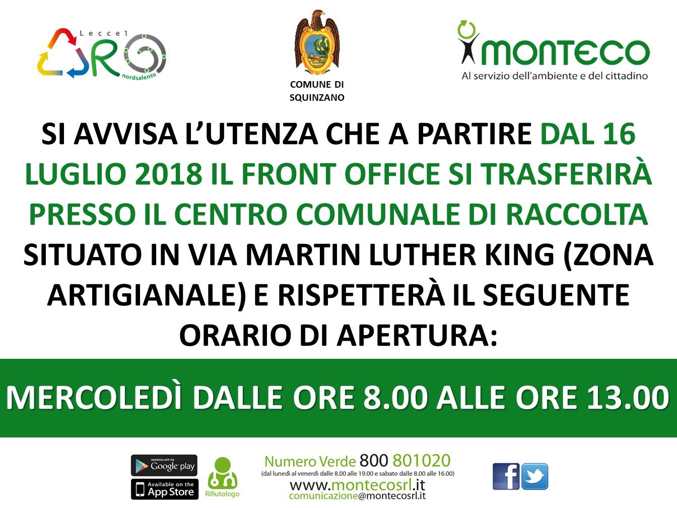Trasferimento Front Office Squinzano presso Centro Comunale di Raccolta