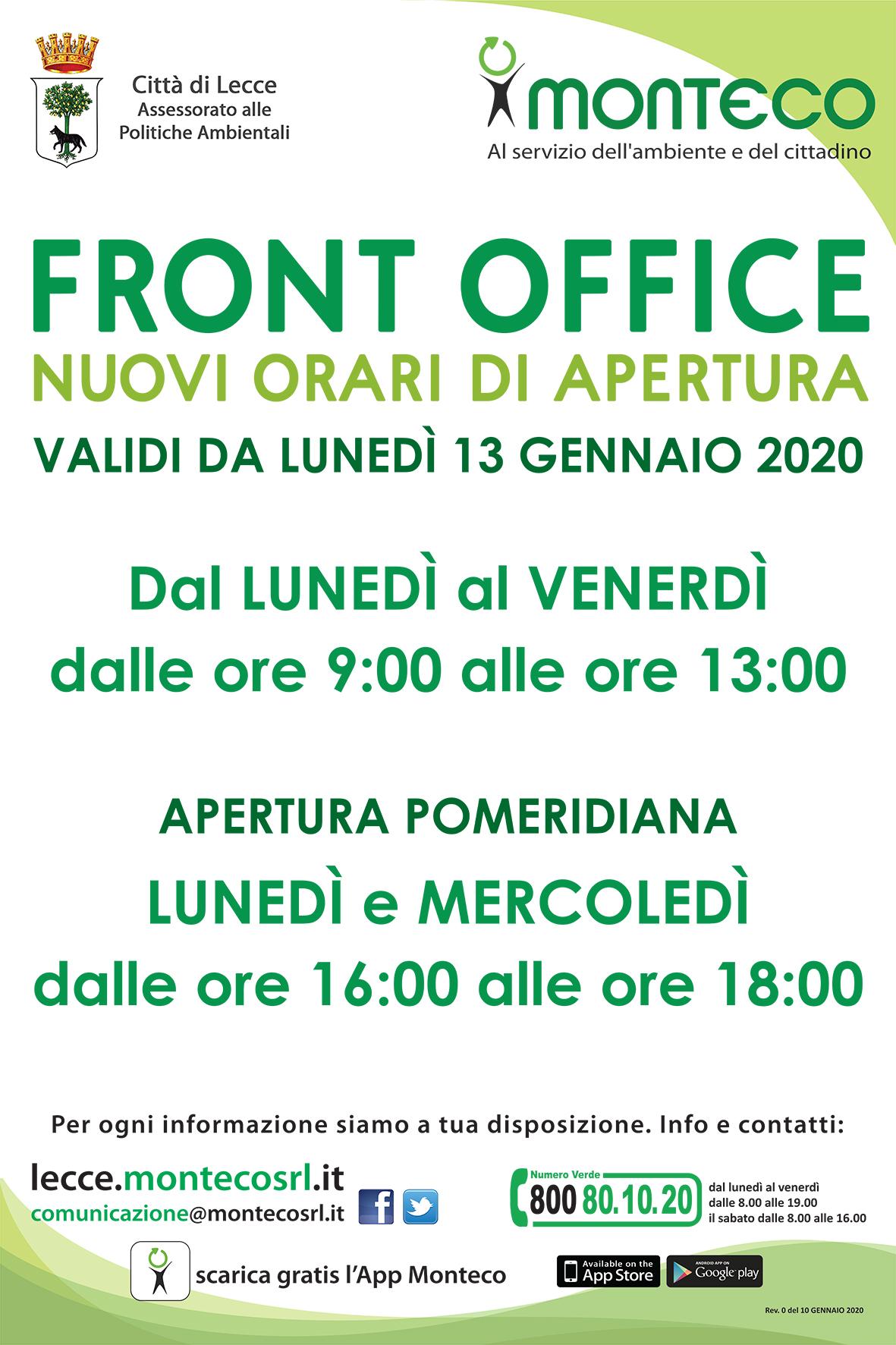 Lecce. Nuovi orari di apertura del Front Office di via A. Diaz 34