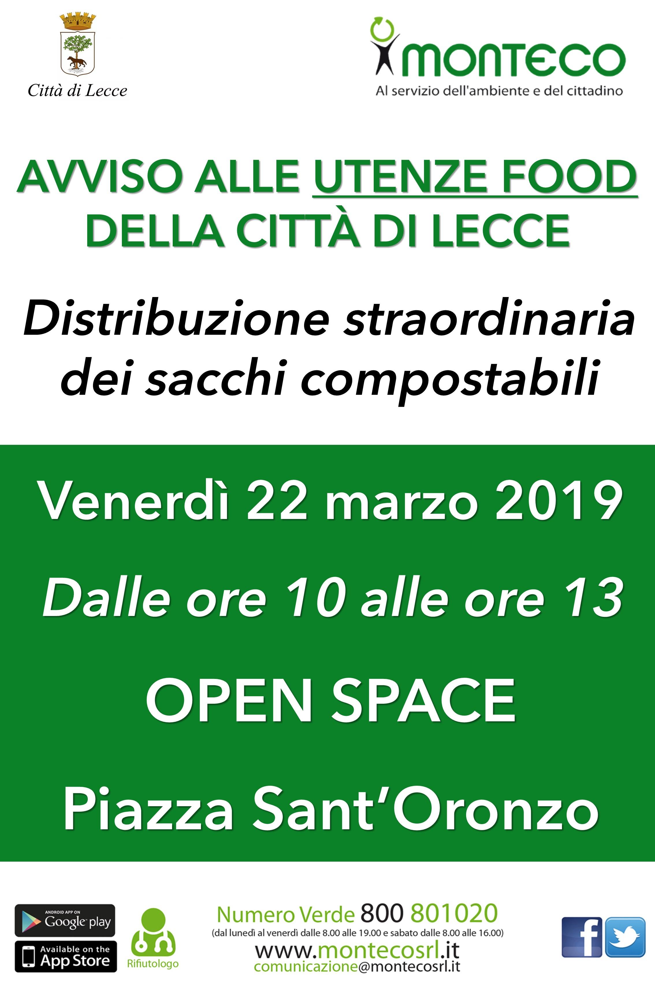 Lecce - Distribuzione straordinaria sacchi compostabili per le utenze food